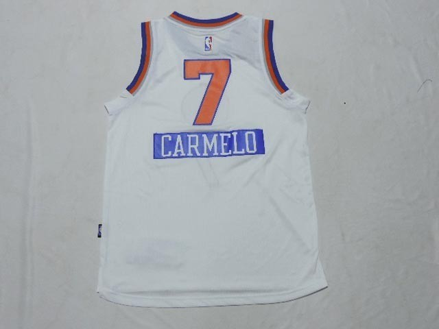 Maillot NBA Pas Cher - Maillot NBA Enfant 2014 Noël New York Knicks NO.7 Carmelo Blanc