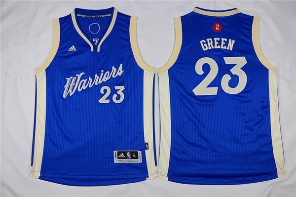 Maillot NBA Pas Cher - Maillot NBA Enfant 2015 Noël Golden State Warriors NO.23 Draymond Green Bleu