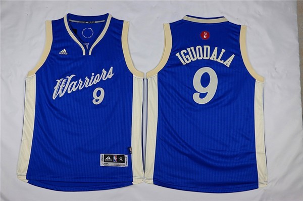 Maillot NBA Pas Cher - Maillot NBA Enfant 2015 Noël Golden State Warriors NO.9 Andre Iguodala Bleu