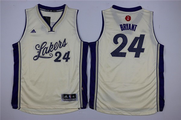 Maillot NBA Pas Cher - Maillot NBA Enfant 2015 Noël Los Angeles Lakers NO.24 Kobe Bryant Blanc