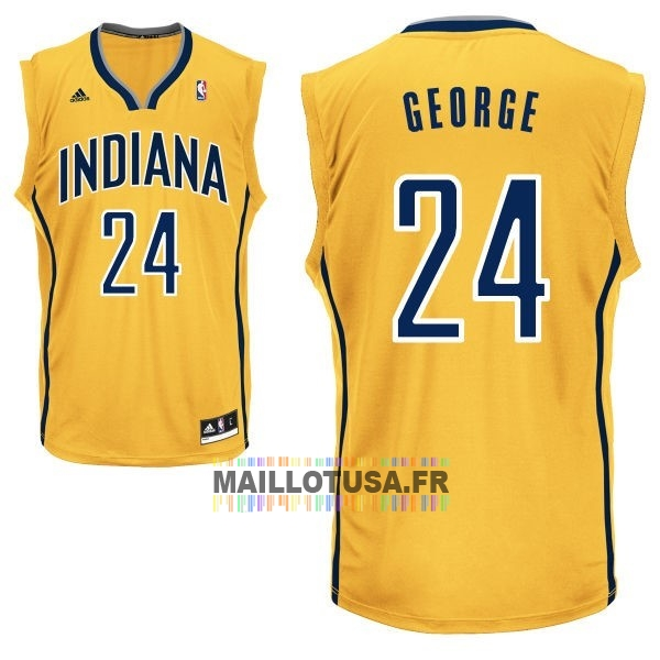 Maillot NBA Pas Cher - Maillot NBA Indiana Pacers NO.24 Paul George Jaune