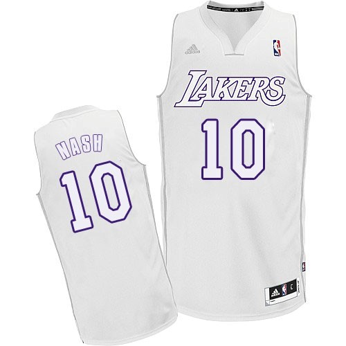 Maillot NBA Pas Cher - Maillot NBA Los Angeles Lakers 2012 Noël NO.10 Nash Blanc