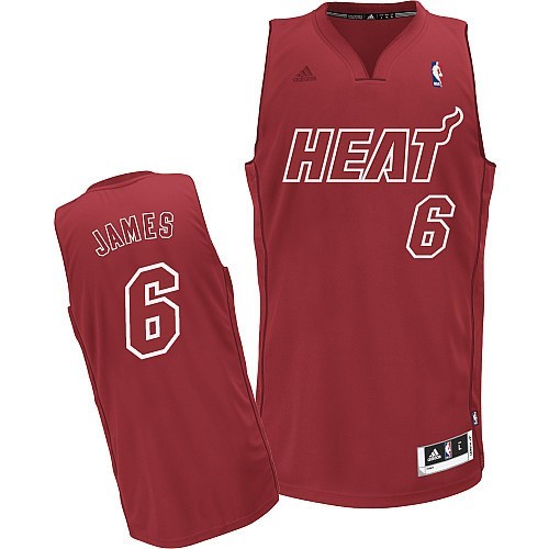 Maillot NBA Pas Cher - Maillot NBA Miami Heat 2012 Noël NO.6 James Rouge