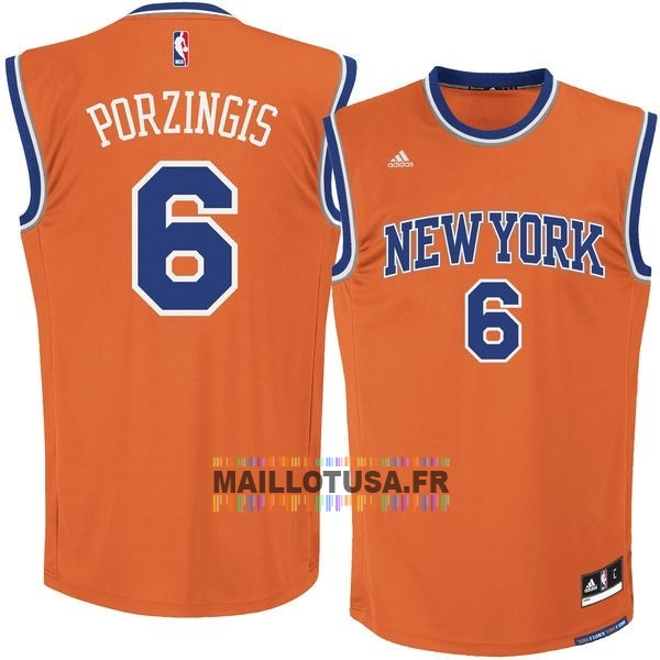 Maillot NBA Pas Cher - Maillot NBA New York Knicks NO.6 Kristaps Porzingis Orange