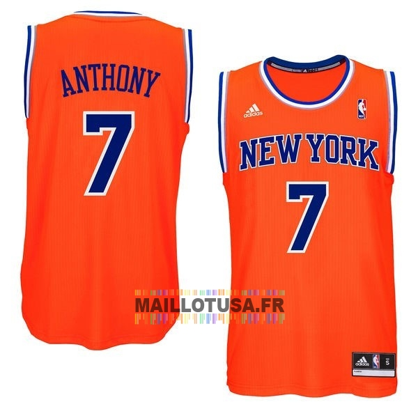 Maillot NBA Pas Cher - Maillot NBA New York Knicks NO.7 Carmelo Anthony Orange Bleu