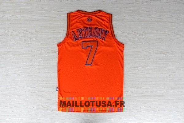 Maillot NBA Pas Cher - Maillot NBA New York Knicks NO.7 Carmelo Anthony Orange