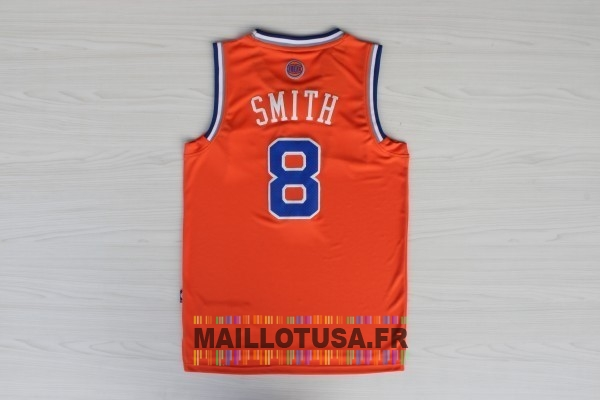 Maillot NBA Pas Cher - Maillot NBA New York Knicks NO.8 J.R.Smith Orange Bleu