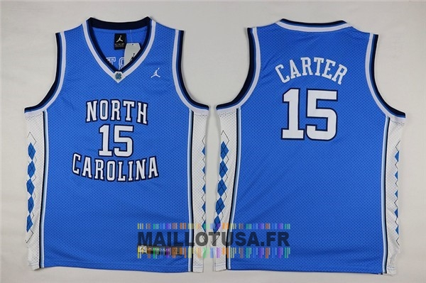 Maillot NBA Pas Cher - Maillot NCAA Enfant North Carolina NO.15 Vince Carter Bleu