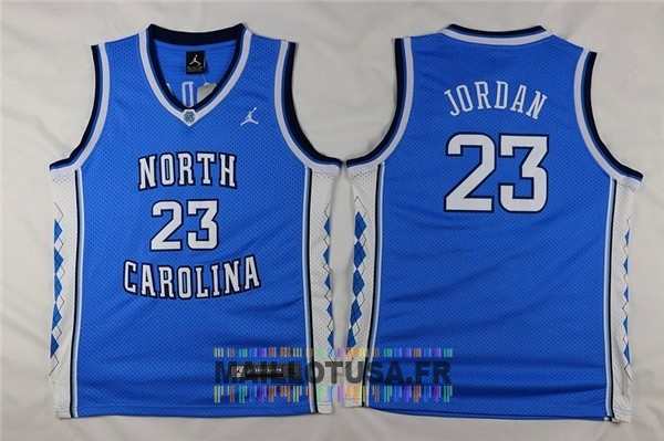 Maillot NBA Pas Cher - Maillot NCAA Enfant North Carolina NO.23 Michael Jordan Bleu