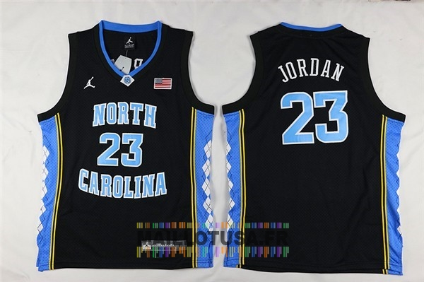 Maillot NBA Pas Cher - Maillot NCAA Enfant North Carolina NO.23 Michael Jordan Noir