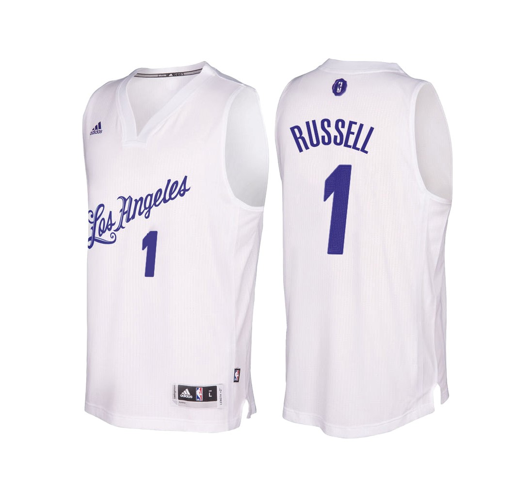 Maillot NBA Pas Cher - Maillot NBA Los Angeles Lakers 2016 Noël NO.1 D'Angelo Russell Blanc